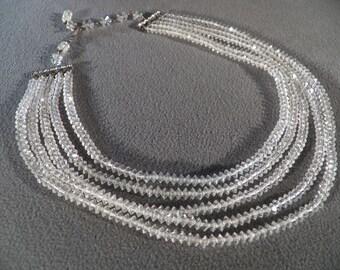Vintage Designer Signed Laguna Uniform Sized Sphere Shaped Glass Bead 5 Stand Rhinestone Necklace    **RL