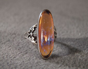 Vintage Sterling Silver Oval Marquise Art Glass Fancy Scrolled Band Ring, Size 3.25  **RL