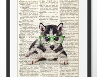 Husky Dog in Green Glasses , Dictionary Art print, Dog Dictionary Artwork, Wall Art Wall Decor Wall Hanging, Art pets, Art Dog Poster
