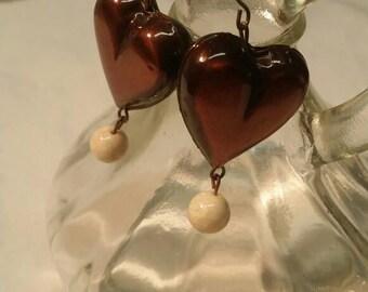 Copper Heart Dangle earrings