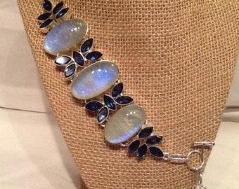 Blue Fire Rainbow Moonstone and Tanzanite Bracelet