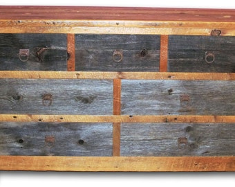 Two Tone Barn Wood Dresser Seven Drawer