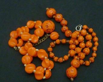 Vintage Czech Czechoslovakia Orange Black Glass Beads 2 Broken Necklaces Repair Re-purpose 21249