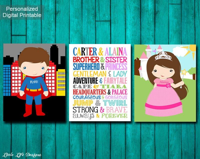 Brother sister superhero and princess sibling wall art - Princess party wall decorations ...