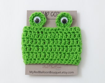 Frog Cup Cozy - Frog Coffee Cozy - Crochet Frog Cozy - Travel Coffee Sleeve - Coffee Cup Sleeve - Christmas Gift under 10
