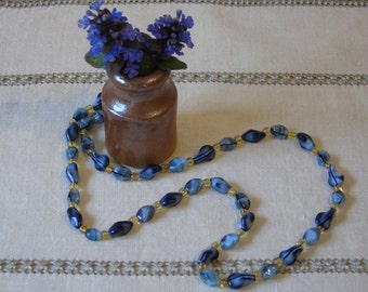 """c1970s Vintage Blue and Amber Glass Bead Necklace - 24 Inch Mid-Length Necklace - Glass Beading - """"Something Blue"""" - Vintage Bride"""