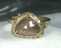Natural large rose cut diamond Halo ring, engagement ring, solid  gold multistone ring,  diamond halo ring, wedding ring