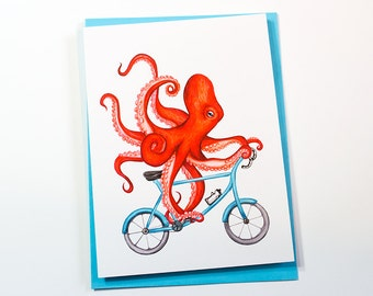 Octopus on bicycle card