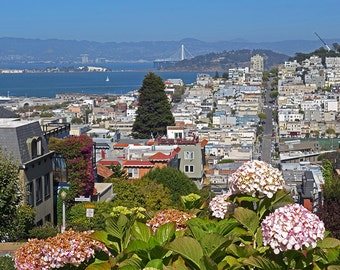 The View from Lombard Street, San Francisco Photography, San Francisco Art, San Francisco print, San Francisco Decor, San Francisco Bay
