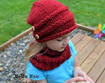 KNITTING PATTERN - Hat Pattern, Stocking Hat, The Roll-o Hat (Toddler, Child, and Adult Size)