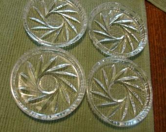 Vintage cut glass coaster set, cut glass coasters, set of 4