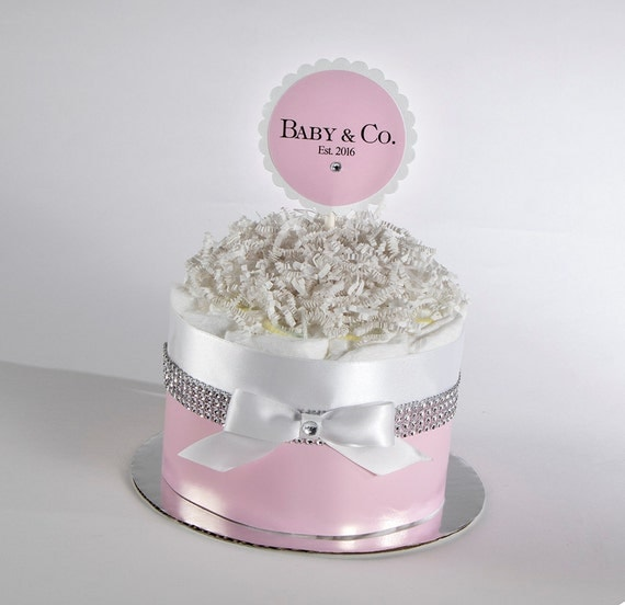 Diaper Cake - Diaper Cakes - Baby & Co. Baby Shower - Mini Diaper Cake - Baby Gift - Baby Shower Decor - Baby Girl Diaper Cake