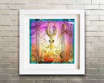 Limited Edition Giclee Art Print 'Gamachonia' of abstract octopus circuit board, with illustration 'Gamachonia' (Octopus) by Ernst Haeckel