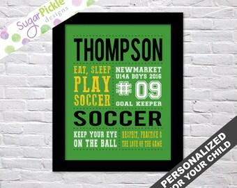 Soccer art, Soccer Print, Soccer Subway Art, Soccer Stats Art, Soccer Wall Art, Soccer printables, Team Gift, Personalized,