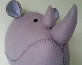RUFUS RHINO - Faux Taxidermy Felt Wall Mounted Animal Head