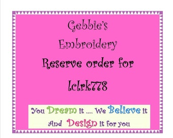 Reserve Order for lclrk778