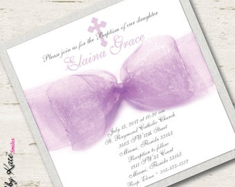 First Communion Invitation Girl Purple Baptism Invitation