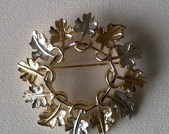 Gold and Silver Colored Leaf Pin