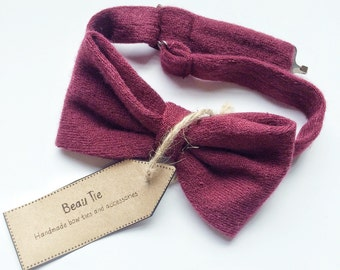 Burgundy bow tie, mens bow tie, wool bow tie, red bow tie, mens wool bow tie, wedding bow tie, gifts for him