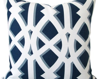 Navy And White Fretwork Design Decorative Pillow Cover-Designer Pillow Cover-Throw pillow -Toss Pilow-Accent Pillow