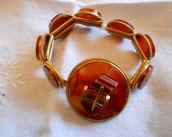 Exquisite Banded Agate Buckle Bracelet