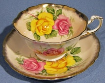 PARAGON Tea Cup and Saucer, Pink and Yellow Roses on PEACH Ground, 1960s Paragon BEAUTY, Made in England