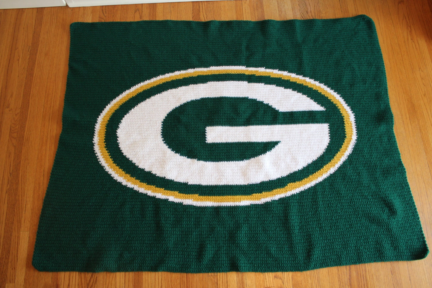 Crochet Pattern Green Bay Packer Afghan : Green Bay Packers Crochet Afghan Blanket by ...