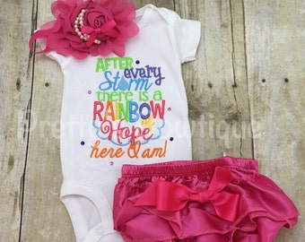 After every storm there is a rainbow of hope... Here i am! Bodysuit or shirt, diaper cover and headband