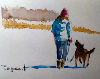 """Original Watercolor Painting, """"Winter Walk with Friend"""", free shipping North America and UK"""