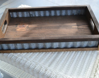 Corrugated Metal and wood serving tray