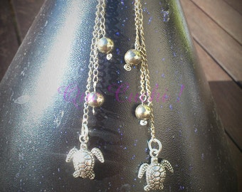 Long earrings with Pyrite turtle