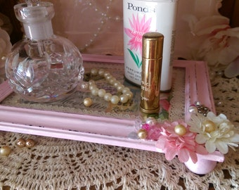 Vanity Tray Pink Shabby Cottage Chic VINTAGE BOUDOIR ADVERTISEMENT  Ads Embellished Paper Flowers Jewels ooak  Home Decor Handmade Gift Idea