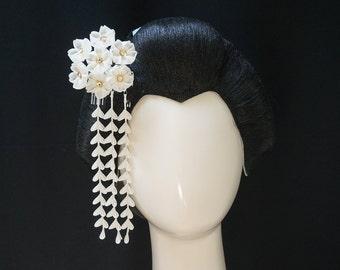 White Cherry Blossom Kanzashi 260