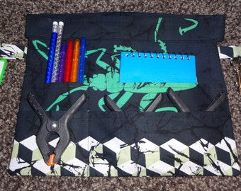 Children's writers/play belt - black/white/green insects - pens, notebook, clips and happy fun