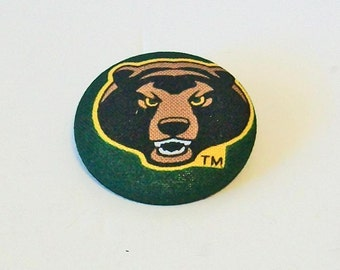 Green and Gold Bears Unusual Large Fabric Button Pin Pendant Combo