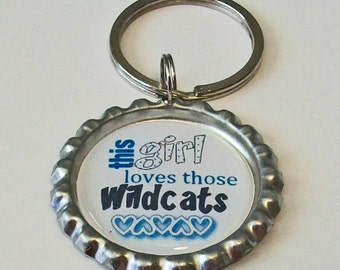 Blue and White This Girl Loves Those Wildcats Inspired Metal Flattened Bottlecap Keychain