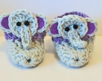 Adorable Hand Crocheted Baby Bootie Shoes Gray and Lavender Elephant Great Photo Prop Matching Hat & Bib Also Available