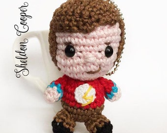 Sheldon Cooper amigurumi keychain doll crochet from the Big Bang Theory