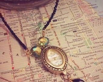 Repurposed watch upcycled necklace