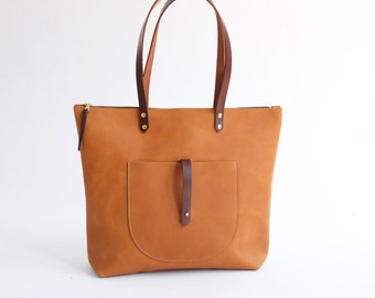 Sienna Leather Zip Tote with Front Pocket