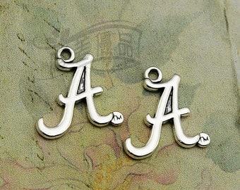 15pcs 24x21mm Antique Silver Alabama Crimson Tide Charm, Sport Enamel Single-Sided Charms, Collegiate Logo