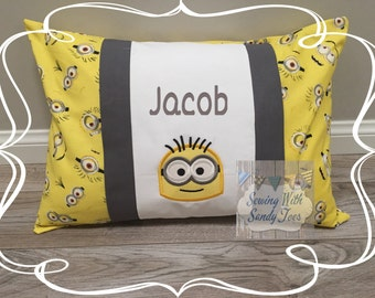 Kids Pillow Minion Inspired Travel Pillow case Personalized Minion Minion Pillow Cover Kids Bedding Minions Minion Bedding Minion Gift