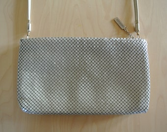 Whiting & Davis Metal Mesh Clutch Handbag Cross Body Leather Strap Beige
