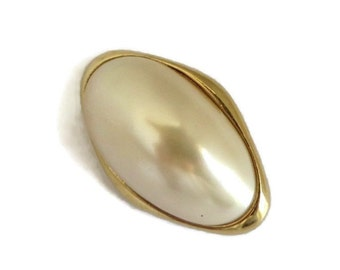 Trifari Faux Pearl Brooch, Vintage Oval Gold Tone Designer Pin