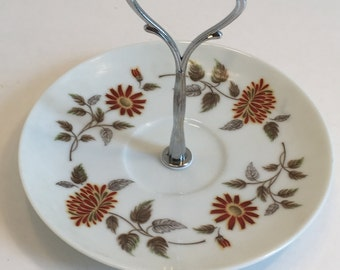 Vintage Porcelain Noritake Tidbit Tray/ Single Tier Tray Auburn Pattern