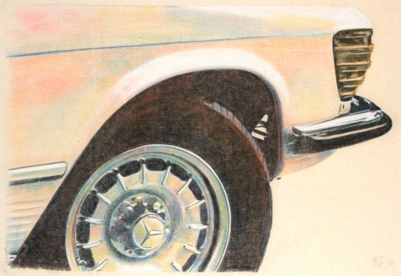 Original, one-off drawing of the front corner and wheel of a Mercedes Benz R107, in charcoal and pastel on calico