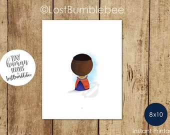 Maasai East Africa African in traditional dress from our Tiny Human Peoples Collection of Printable home decor by LostBumblebee, Size: 8x10