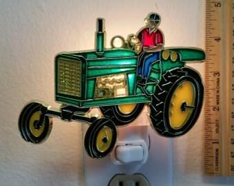 Farmer and  Tractor Night Light