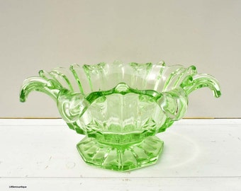 Don't Buy! Reserved to Joven. Vintage Sowerby Green Glass Large Heavy Salad Bowl. Pattern number t2505