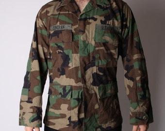 ON SALE ending 08/16 Vintage 90s Military Army Camoflauge US Army Soldier Grunge Jacket